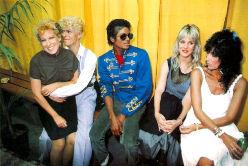 awesomepeoplehangingouttogether:  Bette Midler, David Bowie, Michael Jackson and Cher