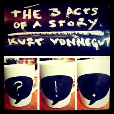 austinkleon:  Kurt Vonnegut's 3 Acts of a Story Told in Punctuation Switchin' up my #chalkmugs on Twitter: @austinkleon