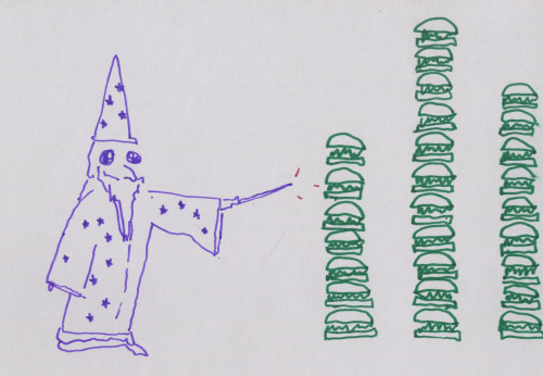 Wizard Uses Powers to Make Three Towers of Sandwiches.