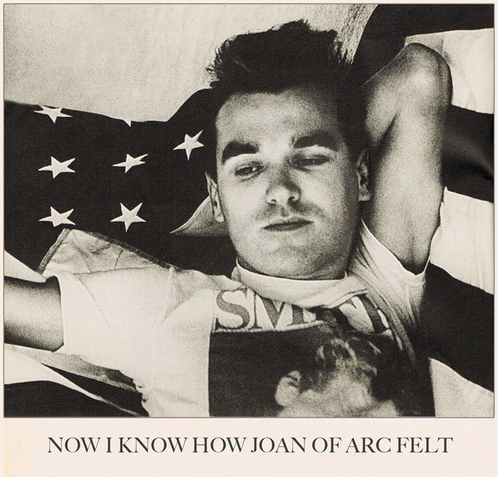 "Morrissey at the times of The Smiths. Study from a photo & article published as a supplement in: Melody Maker, September 23, 1989. Retouched and I changed the page's layout, keeping the: ""And now I know how Joan of Arc felt"" (with a different font) part of The Smiths' song: ""Bigmouth strikes again"" (05/1986): ""And now I know how Joan of Arc felt Now I know how Joan of Arc felt As the flames rose to her roman nose And her Walkman started to melt Oh…"""