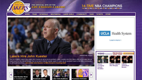 NBA lockout strips team websites of player images: A wrinkle in the collective bargaining agreement means that current players' names and images have been removed from the NBA and team websites. Now it's just cheerleaders, mascots and logos.  Photo: A screenshot taken Friday afternoon of the homepage of the Lakers' website. Since the NBA lockout, links to players' pages redirect to a dressed-down nba.com. Credit: NBA.com/Lakers