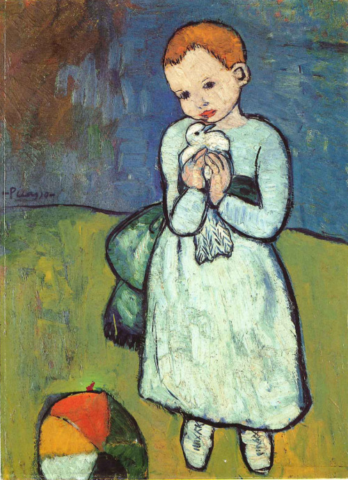 Child with a Dove, Picasso One of my favorites of his… so tender and hopeful on one hand, and so sad with its heavy strokes and thick paint on the other.