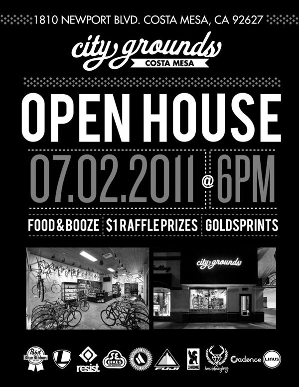 OPEN HOUSE THIS WEEKEND AT CITY GROUNDS   This is gonna be a fun party at City Grounds in Costa Mesa.  The first 50 folks in the door get a free water bottle!