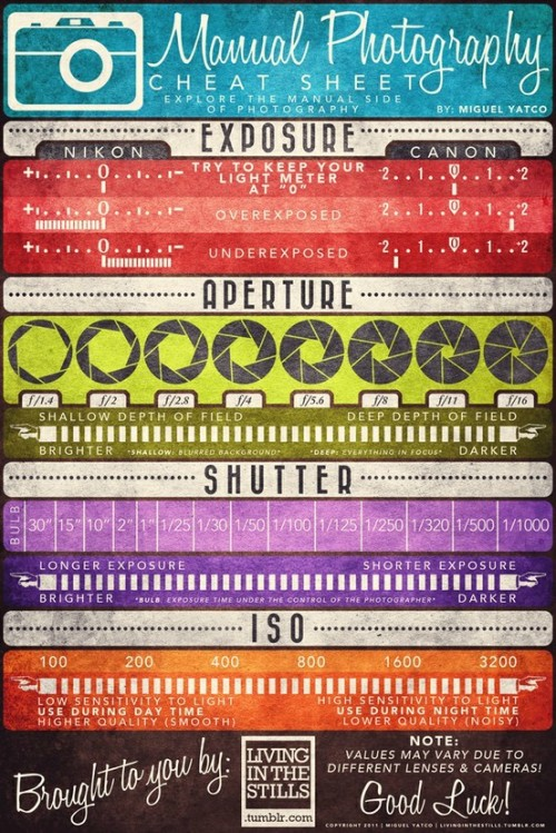 photojojo:  This photography cheat sheet is more than just handy. It's pretty, too. Manual Photography Cheat Sheet by Miguel Yatco p.s. Photojojo's hiring!!! Both in & outside of SF. Web developers, photographer, store buyer, and freelance writers.