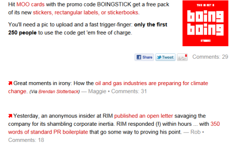 Above: My article on oil co's adapting to climate change was featured on Boing Boing today! Woohoo! (still sour towards GOOD though :P