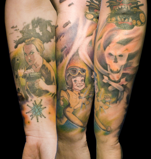 WWII sleeve in progress by Mez Love on flickr (click)