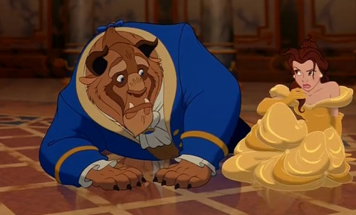 Belle and Beast from one of the trailers for Disney's Lilo and Stitch