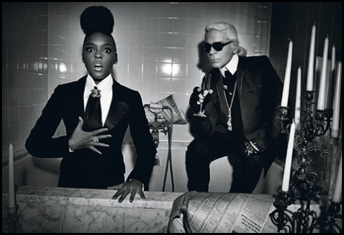 "simko:  Janelle Monae and Karl Lagerfeld photographed by Max Vadukul for W Magazine…  Monáe's music may be a baroque blend of funk, soul, jazz, orchestral symphonies, and psychedelic rock, but when it comes to her wardrobe, the Atlanta-based artist likes to keep it simple: black and white tuxedos paired with a pompadour. ""It's transcendent—it never goes out of style,"" she explains, adding that she prefers for the color to come out in her performance. And to see her standing beside Lagerfeld, the two of them dressed like twins in their signature starched suits, it is clear she has found a kindred spirit. ""We liked each other from the first second on,"" says the designer. ""Not just because of our style, but also the name: Janelle rhymes with Chanel, no?"" (via)"