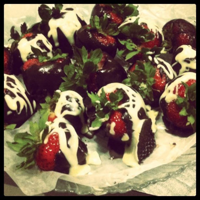 My first attempt at chocolate covered strawberries. Made at the beach for my best friend's birthday.
