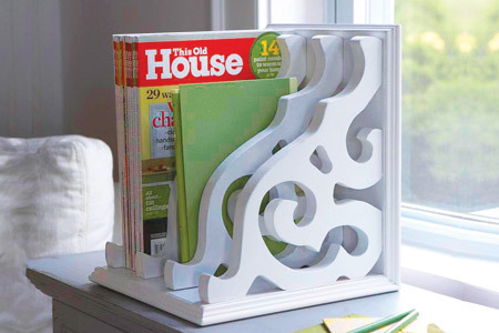 homemadecrap:  DIY Magazine Rack via This Old House using brackets!