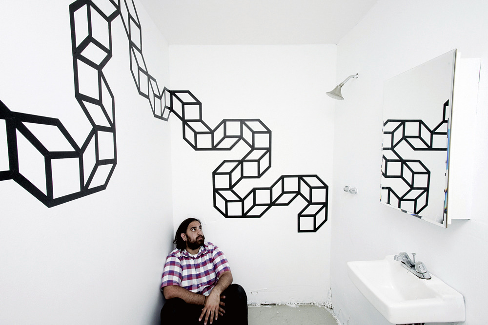Aakash Nihalani, Zigzag, 2011, installationin Noah Kalina's new studio. Photo by Noah Kalina.  Artwork (c) 2011 Aakash Nihlani, All Rights Reserved.