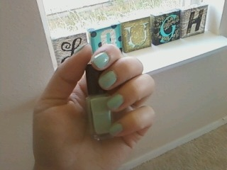 Did my nails today. I'm wearing Mojito which is one of mark's mini nail lacquers. They come i  sets of 2 for $7 and the color lasts forever! It takes one coat and it stays on me which is rare… I typically mess up polish within an hour of putting it on! The color reminds me of Tiffany blue and goes great with the pastel trend and neon trend!