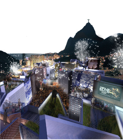 Regeneration of the Favela de Rocinha Slum / Jan Kudlicka via arch daily  Rocinha began to develop after the 1930′s when people began to migrate from the rural areas of Brazil  to areas just outside Rio de Janeiro with the prospect of benefiting from the development of the urban center.  The favelas developed on the hillside with any means available creating hazardous living conditions with crowding and inadequate ventilation, natural light and sewage treatment.  These types of conditions are true all over the world where the populations of urban environments have outnumbered rural areas since 2008.  With such a high proportion of the world living in urban centers, many people are faced with the overcrowding and unsanitary conditions associated with living on the outskirts of a big city. The strategies that Jan Kudlicka developed prioritize the need to preserve the space already built up and protect it from the vehicular traffic.  The desire is to regenerate the existing conditions rather than demolishing homes to begin anew.  The environmental conditions of Rocinha made this especially difficult because the site is built up to its limit, crowded on all sides by mountains from one end and the urban center of Rio de Janeiro on the other.  The natural development of the favela has produced overpopulated and dangerous conditions that do not account for emergencies or the general safety of the inhabitants.  The organization of the dwellings create dead ends and very few passages in case of fire or medical emergencies.