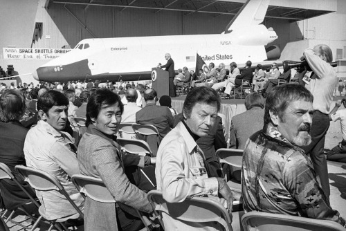 Star Trek Actors at the First Viewing of Space Shuttle Enterprise in 1976