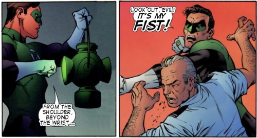 catbountry:  theguacamolelantern:  (submitted by hippogryph)  Hal Jordan is a jerkface who love hamboigahs and punching the shit out of people.  POW!