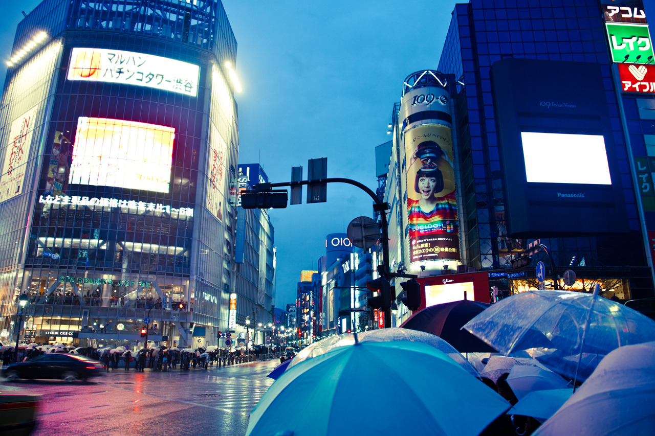 Hachiko square crossing on Flickr.  A sea of umbrellas waiting to cross the crossing at Hachiko square. Also check out ( http://www.flickr.com/photos/legarth/5893698506/in/photostream )