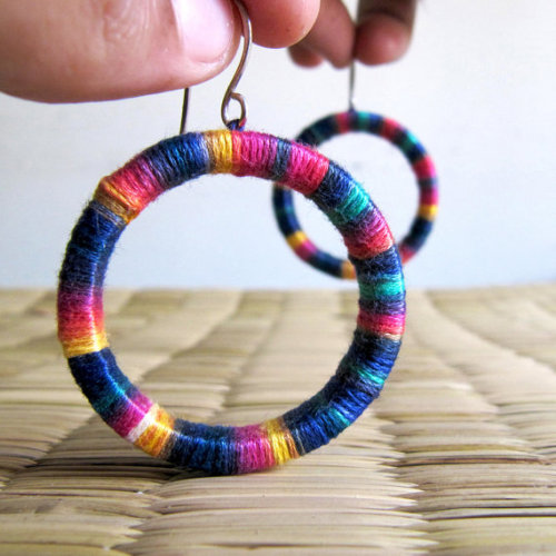 Yarn Wrapped Happy Earrings by hippiekingdom on Etsy