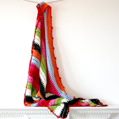 Rainbow Stripe Cotton Blanket by rocketandbear on Etsy
