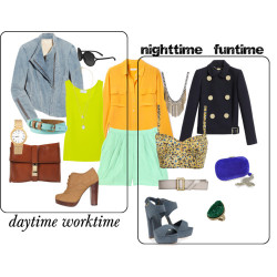 Last night, I discovered what Polyvore is.  It's basically a networking site that allows you to create style editorials.  I decided I could use this as my fashion segment outlet.  Above is the first set I put together.  I called it Lime Two-Time.  And I would seriously wear both of these outfits if I had the five grand to shell out.  I've been on the hunt for lime-ish green shorts for a while now, but to no avail, until I spotted these by ADAM (and even these are reminiscent of that weird green-colored key lime pie you find at Albertsons). I paired them with the orange silk button-down and there were just too many options so I narrowed to two outfits surrounding these two items.Daytime worktime: I'm undecided if the yellowish-lime tank can only work peeking out underneath the orange shirt, but I'm guessing that's safest than trying to layer it over.  So, working with it underneath, the orange shirt remains un-buttoned but tucked in, wrapped up with the mint leather belt for a dose of structure but still fun with the unexpected color combo.  Topping this outfit with the asymmetrical denim jacket, you get an edgier take on a blazer that anchors down all the colors.  The oxford heels and simple gold wristwatch add some prep to make it right for the office, and possibly that double-stranded gold necklace (not necessary).Nighttime funtime: Again with the sunflower print bustier under the orange shirt, instantly sexier for night.  I'd probably try the orange shirt with the bottoms knotted on each side left open or tied up in front (but either of these would lend for a more casual outing - tuck it in and leave it open for a more pulled-together look).  The taupe belt added a nighttime glow for me; chunky (but more comfortable) heels and glam accessories make it nighttime appropriate.  Throw on the jacket if it's chilly - again just balancing the (what-seems-to-look-like) chaos of the entire ensemble.I'd so wear these. all photos via polyvore.com
