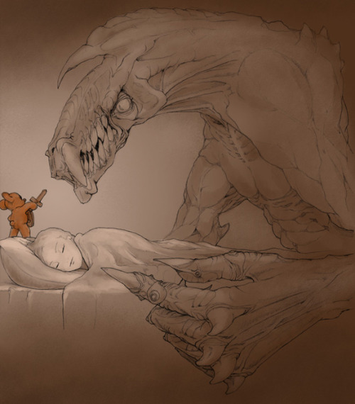 lickypickysticky:  While you were sleeping…Deviant artist Begemott gives a sneak peak at what happens when you're sleeping and shows why you it is advisable to have a teddy bear in the bed with you…