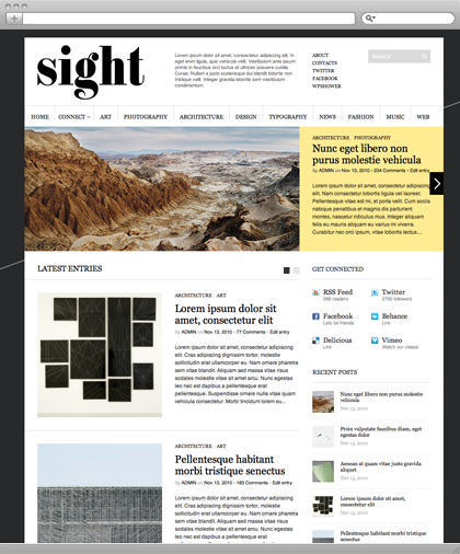 @wpshower: Sight is a professional WordPress theme which was made in a modern minimalistic style and best suits for Blogs & Magazines. Layout is made using Golden Grid and it gives you a choice of information publishing – grid view or standard blog view. Extra ability of showing most important information content via big image slider on the top of the page allows you to improve your web-site's presence and attract new visitors. It is important to be noticed that Sight is already Search Engine Optimized, so you don't need to care about, just start and get love from Google. (via Sight Free WordPress Theme)