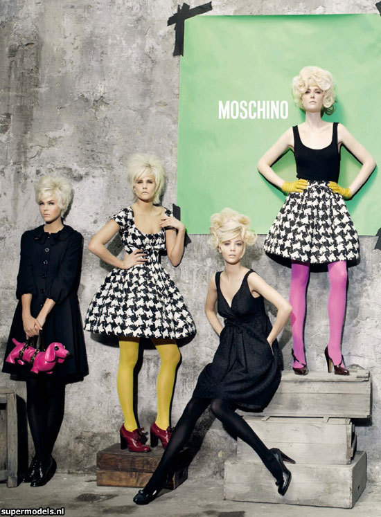 Peter Lindbergh for Moschino. Models include: Elianne, Smit, Dioni Tabbers, Noreen Carmody,  and Veranika Antsipava.