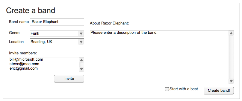 Wireframe iterations: Create a band screen