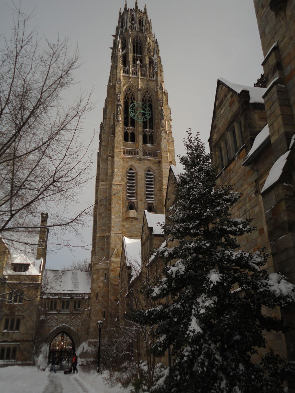 Harkness Tower as seen from Branford Courtyard just after a snowfall. Yale.