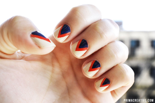 PATRIOTIC NAILS DID : Two-Tone Reversed Deep V Manicure Base : American Apparel California Trooper, Red : American Apparel Poppy, Blue : Mattese Elite Neon Lightening Blue Nail Art & Photography by : Christina Rinaldi