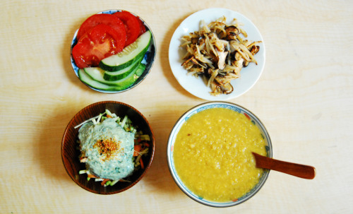 Lunch Post! here is lunch I made a couple of days ago, Im trying a new thing with making several different sides and then the main dish! From right to left, top to bottom Dish 1 : Fresh cucumber and tomato I picked up form the Farmers market Dish 2 : Match stick potatoes and baby bella mushrooms Dish 3: Raw zucchini and carrot salad with tofu cilantro lemon dressingDish 4 : Vegan Corn ChowderVegan Corn Chowder1/2 medium sized onion chopped (I used red and yellow since I had some left over)2 good sized carrots sliced 4 small potatoes chopped ( I used young potatoes, again I had sitting around)About 1 cup vegetable bullion, enough to cover1 package frozen sweet corn or 3 fresh corns worth of cornSalt to taste1 1/2 tsp rosemary Olive Oil Take up a large pot and set it to medium high flame. Throw in some olive oil, carrots, potatoes, rosemary, and onions. Sauté them until they become aromatic and tender.  Add about 1 cup of bullion or enough for it to cover your contents. If your using bullion cubes add water first then add cubes ( about 3-4 cubes) make sure to taste it so you don't over use the cubes! let that simmer for about 20 minutes or until the veggies are tender. Take out your corn and pour the contents of the small sized bag in ( or as much as you want really). Let that simmer for another 15-20 minutes or until tender. Finally take out our blending stick and start blending until you get a puree like consistency and your done! If you want something smoother wait until the soup has cooled down and throw it all in a blender and bled! Its important to wait for it to cool or it'll explode in the blend ( known from experience). this makes about 4-5 servings so itll last you the week Enjoy!