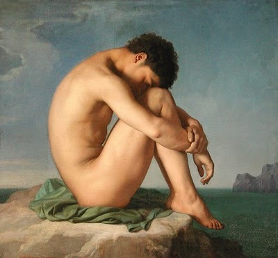 Young Man Sitting by the Seashore (1855) by Jean Hippolyte Flandrin