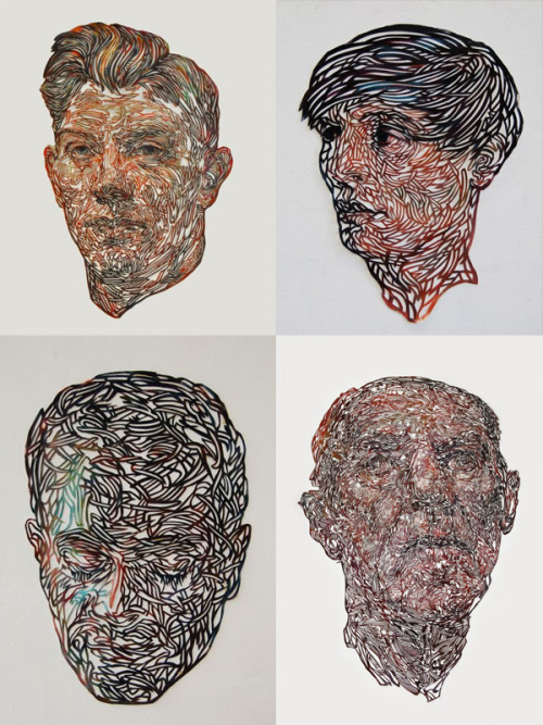 Kuin Heuff paints these amazing portraits onto canvas and then intricately cuts away pieces of the paintings in really detailed patterns, what a clever person!