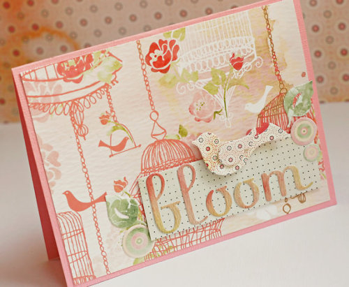 Soft and Romantic Handmade card Bloom by HandMadeByToni on Etsy