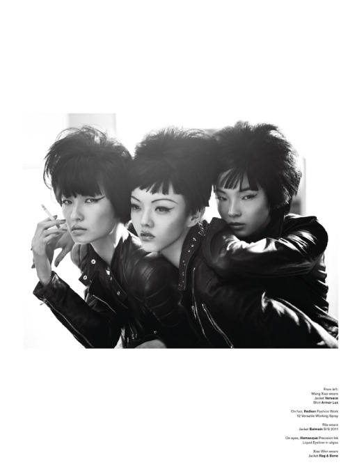 chelseaelsea:  Wang Xiao, Rila Fukushima and Xiao Wen Ju. Photography by Josh Olins and Styling by Jay Massacret. More photos at source.