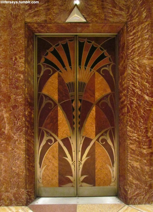 Elevator Door, Chrysler Building, NYC, New Yorkby lilifersays The famously elaborate elevator doors. lilifersays:  31. The elevators in the Chrysler Building are probably one of it's most extravagant and remarkable features. Notice the intricate wood paneling, the vivid colors, and the extreme attention to detail. Isn't it kind of amazing that they've been able to preserve them so beautifully for all these years?