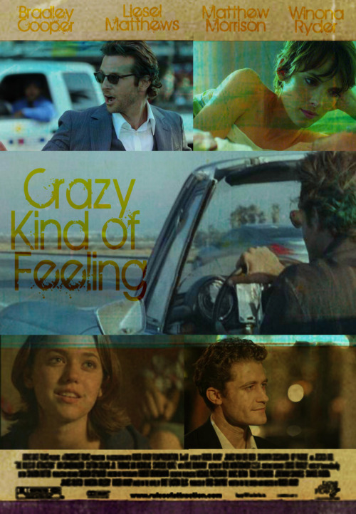 "Shuffle Synopsis Meme | (asked by Kellyann89) Title: Crazy Kind of Feeling Song: ""Contagious"" by Boys Like Girls  I'm flying down the fast laneDoing ninety five, ninety things on my brainDon't know where the hell I'm goingBut I'm going after youI'm jumping on the last trainGot this crazy kind of feeling that I can't explainDon't know where the hell I'm goingBut I'm going after youAnd I know you think I'm crazyAnd I dress up like I'm fourI don't do dinner and moviesBut if I showed up at your doorWould you give me one more minute?The story's far from finishedWe could fill in all the pagesI'm feeling sick, girl, you're so contagiousJust wanna say I miss youI caught it when I kissed youAnd I've been through all the stagesI'm feeling sick, girl, you're so contagious  It was raining on a WednesdayDoing ninety five, ninety things left to sayTold myself to keep on driving'Cause I left my heart with youI never thought that I could walk awayEvery second I'm regretting that I didn't stayHow could I just keep on drivingWhen I left my heart with you?You think all my friends are crazyAnd I know you hate my carWell, I don't drive a MercedesWould it be that hard?  Starring: Bradley Cooper, Winona Ryder, Matthew Morrison, Liesel Matthews Synopsis: Dave (Cooper) has never grown up and he's just fine with that. He dresses like an adult, puts on a show at his minimal effort job at his father's company, but in his free time, he's more than happy to spend his free time acting like a hormone crazed teenager. That's why keeping his relationship with Aubrey (Ryder) casual is key, even though she's the first girlfriend he's had that he kind of wants to keep around for a very long while. When Aubrey tells him that she's been offered a job on the other side of the country, she tells him that she'll stay if he makes some kind of commitment, any kind of commitment. Seeing his carefree lifestyle slipping out of his grip, Dave tells her to take the job. Aubrey, disappointed and dejected, accepts the job offer and leaves Dave with only a goodbye and her hope that the next woman in his life can be enough to make him grow up. It doesn't take long for him to realize his mistake. Aubrey was that woman. A crazy kind of feeling he's never really felt before creeps up on him and he goes after her. It turns out that blowing all your money on a convertible makes it difficult to pay for a plane ticket, go figure. Armed with a small bag of clothes and essentials and a company gas card, Dave sets out to drive across the country to win Aubrey back. On the road, he runs into an old college buddy, Wade (Morrison), who used to be the wildest guy in their fraternity. Dave had always thought Wade would be a bachelor to his deathbed, but when they catch up he finds Wade has settled down with a wife and two kids. The wildest thing Wade does on his weekends is have a beer at his weekly BBQ for his friends around his neighborhood. Near the end of the journey, Dave picks up a hitchhiker, a young woman named Celia (Matthews). After a few miles of talking, Dave learns that Celia was forced to grow up long before her time. His experiences on his trip assure him when he arrives at Aubrey's door that he has made the right choice this time. Now the only question is, with Aubrey take him back?"