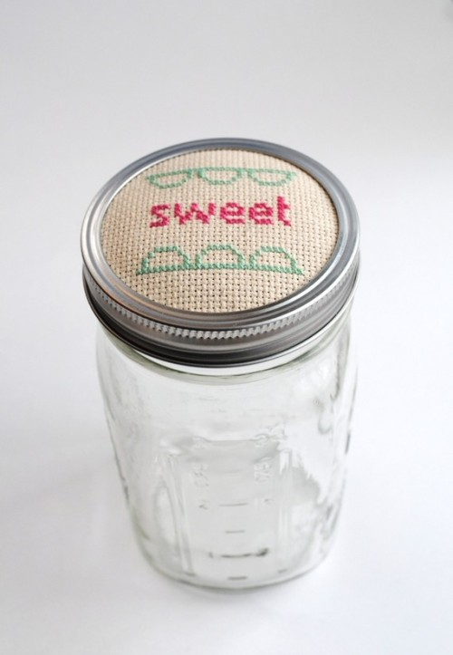 Sweet Jar Topper Mint and Pink by graceandlight on Etsy