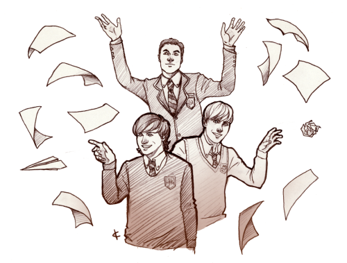 goodolmoon asked:  blaine or the warblers throwing their homework around