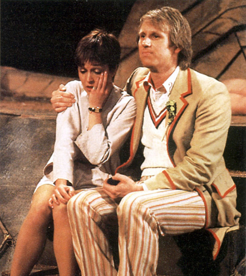 Peter Davison I believe you once said you weren't even allowed to put your arm around your female companions, well what do you call this then, eh, what do you call this? Get out of here with your fibs, Peter Davison, but don't go too far because the 50th anniversary of Who is soonish and I expect you to at least show up, please.