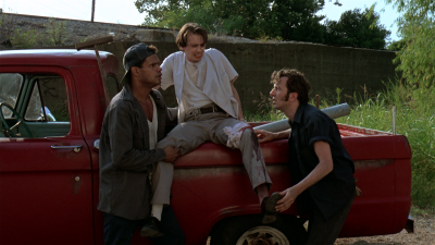 colouredmovies:  A red pickup truck and Charlie the Barber's (Steve Buscemi) blood in Mystery Train