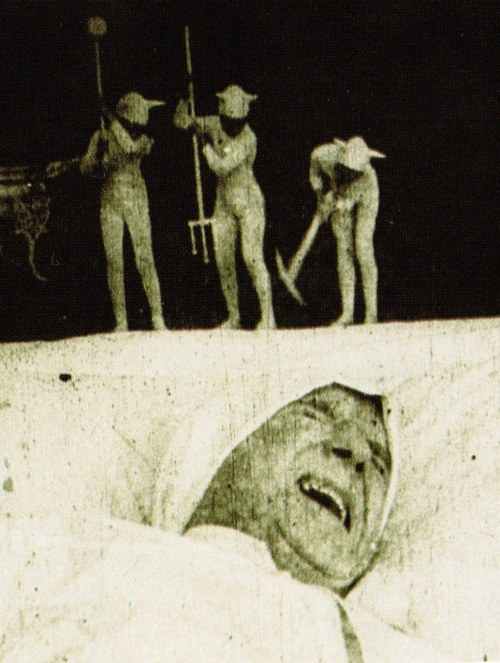 What's really causing your nightmares: Dream of a Rarebit Fiend (1906, dir. Edwin S. Porter) Full film online here.