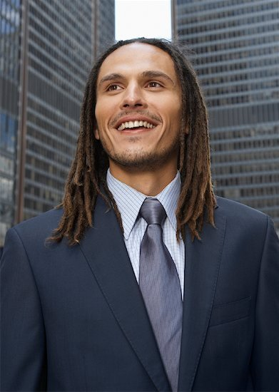 dreadlocks in a business suit