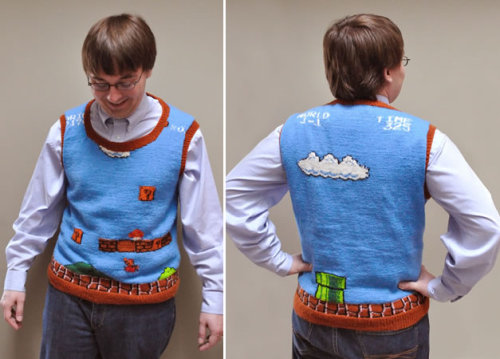 An original Nintendo Mario Bros Sweater Vest. This will look good on me when I'm laying in that casket.