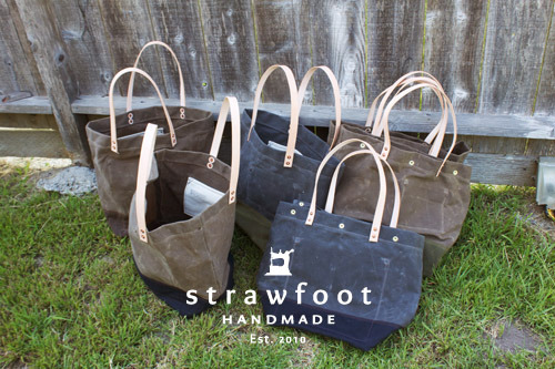 "strawfoot:  Six new bags up for sale in the online shop. Three waxed totes and three waxed ""snap top"" totes. Thank you for looking and supporting Strawfoot Handmade. http://strawfoothandmade.bigcartel.com/ -Garrett"