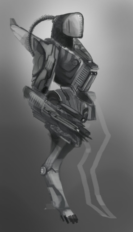 I decided to draw something different today. I drew an alien in a mech suit. Everybody likes mechs. I do at least. I couldn't be bothered with finishing the other leg. I might get around to finishing and polishing it later. Enjoy. I might have you guys know that this is my first mech drawing EVAR