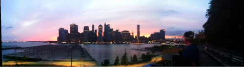 New York City skyline at sunset on the Brooklyn Promenade taken with Photosynth on my iPhone.