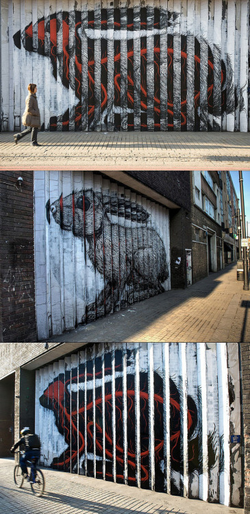 "devoltage:  enochliew:  Rabbit by ROA Here's a story about another one of ROA's rabbits. ""The building's owners had granted the artist permission to create the  piece, but they have been served with a removal notice by Hackney  council, warning that unless they 'remove or obliterate the graffiti'  within 14 days, a council contractor will paint over the wall and charge  them for the service.""  This is just FUCKING COOL"