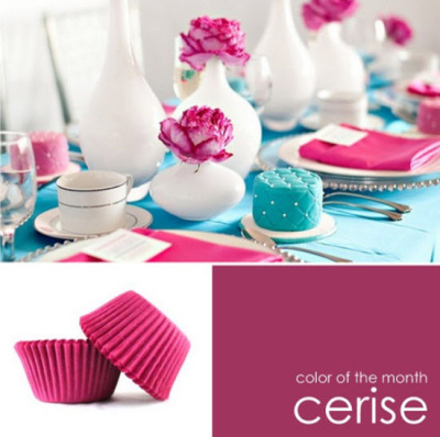 color of the month: cerise. it looks good with turquoise. lovely color!