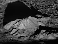 Sunrise on the Moon  On June 10, 2011, NASA's Lunar Reconnaissance Orbiter angled its orbit 65° to the west, allowing the spacecraft's cameras to capture a dramatic sunrise view of the moon's Tycho crater.  A very popular target with amateur astronomers, Tycho is located at 43.37°S, 348.68°E, and is about 51 miles (82 km) in diameter. The summit of the central peak is 1.24 miles (2 km) above the crater floor. The distance from Tycho's floor to its rim is about 2.92 miles (4.7 km).  Tycho crater's central peak complex, shown here, is about 9.3 miles (15 km) wide, left to right (southeast to northwest in this view). Image Credit: NASA/Goddard Space Flight Center/Arizona State University