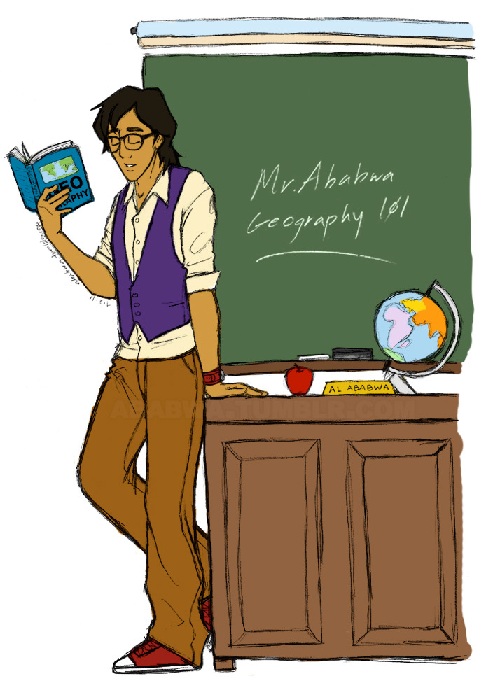 "thesmokinsmolder:  dustkeeperman:  ababwa:  ""Welcome to Geography 101. I'm Mr. Ababwa, but call me Al. As your instructor in this course, I can show you the world."" A little throwback for the DFDers. May 9th, I decided to teach geography (and some math). But let's just say my teaching career and the school of DFD was short lived… and of course I would have an apple on my desk.lolhipsterglasses. drawn and colored by ababwa.tumblr.com  Ahhh, I remember this! I believe I recall Lottie trying to teach us about finding a prince? (OOC: I have the screenshots saved somewhere on my computer… maybe I should dig them up lol)   sometimes i want to duct tape aladdin to a chair with only one hand free for drawing. <_<  Hot teachers = hipsters amirite? ;D"